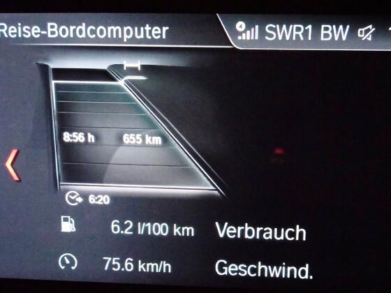 Verbrauch ohne nachzuladen nach 655 km